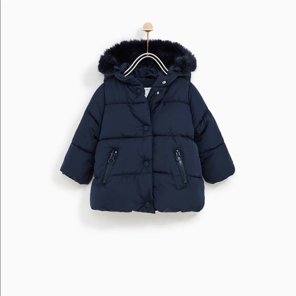 Zara Other - Zara Girls Padded Jacket with the faux fur hood